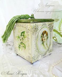 Wooden Jewelry box, jewellery box, Decoupage box with lily of the valley, wood…