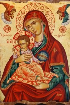 Madonna and Child Byzantine Icons, Byzantine Art, Religious Icons, Religious Art, Images Of Mary, Christian Artwork, Queen Of Heaven, Mama Mary, Religious Paintings
