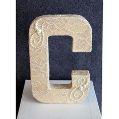 Any+Letter+Cake+Topper+Vintage+Tan+Champagne+Lace+by+DazzlingGRACE,+$42.00
