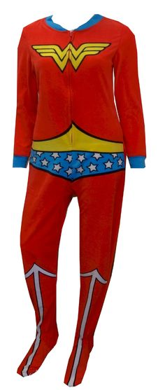 DC Comics Wonder Woman Fleece Onesie Footie Pajama For every Wonder Woman out there! These pajamas for ladies are designed to l...