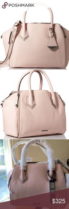 NEW! Rebecca Minkoff Mini Perry New unused includes dust bag 100% Cowhide Leather Color is Blush Pink with Silver Hardware fabric lining zipper closure Pebbled-leather satchel with rolled top handles, decorative logo fob Removable/adjustable cross-body strap Rebecca Minkoff Bags Satchels