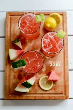 'The Sashito' is a cocktail infused with fresh watermelon, lemon, and spirits. So yummy, and perfect for summer time! Watermelon And Lemon, Watermelon Margarita, Watermelon Recipes, Summer Cocktails, Cocktail Drinks, Craft Cocktails, Champagne Sangria, Limoncello Cocktails, Coctails Recipes