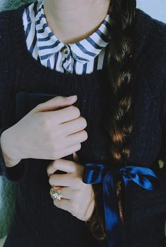 braid and blue bow ↣✿