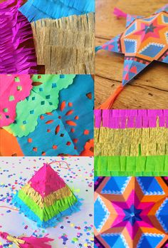 4 Mexican paper crafts: Simple and fun party craft tutorials inspired by Mexican Artisan paper decorations. #mexicancrafts #papelpicado #paperflowers
