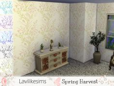 Beautiful and sublte paper with a delicate touch Printed Shower Curtain, Flooring, Wall, Sims 4 Build