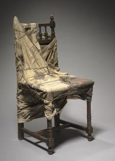Wrapped Chair Christo (American, b. Date: 1961 Medium: wood, fabric, lacquer paint, and ropes Dimensions: Overall - cm inches) Christo Art, Christo And Jeanne Claude, Fibre And Fabric, Cleveland Museum Of Art, Everyday Objects, Chair Design, Textile Art, Cool Furniture, Contemporary Art