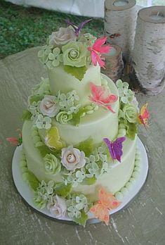 Image Detail for - Wedding Cake with Handmade Flowers & Butterfly