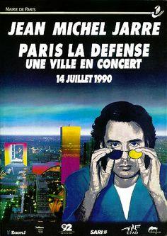 Jean-Michel Jarre - Paris 1990 Jean Michel Jarre, Concert Posters, Music Posters, Two Decades, Cultural Events, Rock Concert, Spiritual Inspiration, New Age, Electronic Music