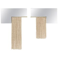 For Sale on - The L-Mirrors are a set of sculptural mirrors with brass rods that hold ceramic chainmail curtains. The ceramic chainmail has been individually handmade, Antique Furniture, Modern Furniture, Mirror Set, Wall Mirror, Chain Mail, Contemporary Ceramics, Geometry, Fashion Art, Wall Lights