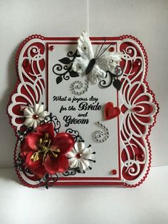 Wedding card I made for a friend, Used Heartfelt Creations Regal Border dies.