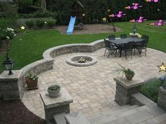 Super stone patio with fire pit backyard makeover Ideas Large Backyard Landscaping, Patio Pergola, Backyard Patio Designs, Patio Ideas, Pavers Ideas, Pergola Kits, Backyard Ideas, Landscaping Ideas, Pergola Ideas