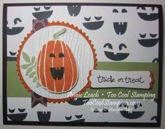 Fall Fest Jack-o-Lantern Card- class, fall fest, kit, autumn, pumpkins, jack-o-lantern, leaves, stampin up Order my Fall Fest Class at www.toocoolstamping.com