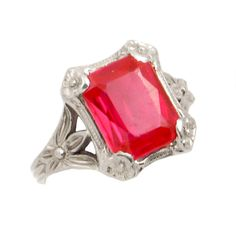 Antique Gold Ruby Ring - Edwardian Synthetic Ruby Ring in White Gold - Size Ladies Silver Rings, Gold Rings, Antique Rings, Antique Jewelry, Edwardian Ring, Synthetic Ruby, Garnet Jewelry, White Gold Jewelry, Gemstone Colors