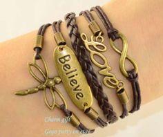 believe braceletInfinity bracelet  Dragonfly bracelet by Gogoparty, $5.99