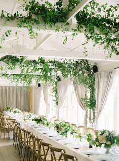 This Bride Went Minimalistic With Her Dress + It's SO Good Loaded with nature-inspired decor, green garlands and ivy, and a minimalist wedding dress, this marriage celebration is the epitome of simple elegance. Cheap Wedding Flowers, Wedding Colors, Green And White Wedding Flowers, Ivory Wedding, Floral Wedding, Boho Wedding, Wedding Reception, Natural Wedding Decor, Wedding Venues