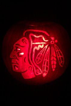 Chicago Blackhawks pumpkin (Photo by: Twitter fan @waffleman9) #HockeyHalloween