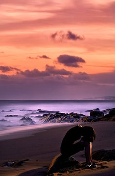 Sunset at Ballito Beach in South Africa