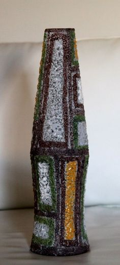 Large Vintage RAYMOR Italy Mid Century Art Pottery Vase With Lava Glaze Abstract
