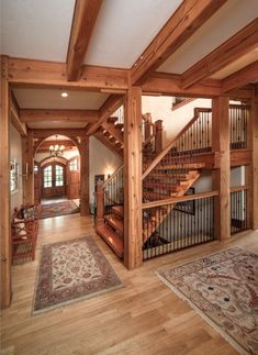 15 Gorgeous Rustic Wooden Stairways Design For Classic Home 4 Metal Barn Homes, Metal Building Homes, Pole Barn Homes, Timber Frame Homes, Timber House, Building A House, Rustic Staircase, Pole Barn House Plans, Barn Plans