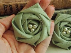 Rustic Wedding- Sage Green Fabric Flower - Pearls - Rolled rosette - Decor - crafts - diy bride  - appliques - sewing - shabby chic flowers on Etsy, $5.00