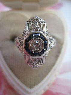 14K White Gold Filigree Sapphire & Diamond Ring     Art Deco from Pauline Street at RubyLane.com