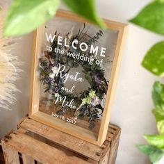 【Welcome board 】ウェルカムボード/ botanical Bouquet Shadow Box, Wedding Signs, Wedding Cards, Flower Decorations, Wedding Decorations, Felt Crafts, Diy Crafts, Welcome Boards, Flower Packaging