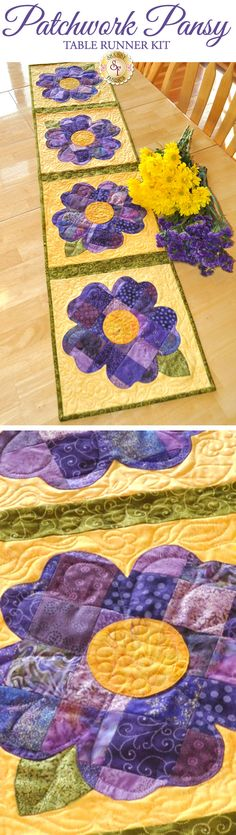 Patchwork Pansy Table Runner - Create a darling table runner for spring! Designed by Jennifer Bosworth of Shabby Fabrics, this design features patchwork - a great way to use up scraps!