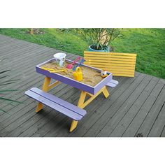 Picnic table with built in sand box-love it!