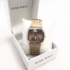 Nine West Natural color Watch Beautiful Nine West watch made with top grain faux leather top and genuine leather backing. Brand new never used, just for picture. MSRP 49 Nine West Accessories Watches
