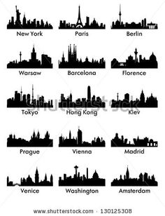 Skylines - paint background as a sunset of colors. Then overlay the city of choice silhouette