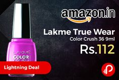 Amazon #LightningDeal is offering 30% off on Lakme True Wear Color Crush 36 9ml Just at Rs.112. ontains resins with color lock technology, Strengthens nails with a long lasting nail enamel, Chip resistant, Lakme True Wear Color Crush coats your nails to perfection; giving them a vibrant and elegant look, Shades that give your nails a silk sheen.  http://www.paisebachaoindia.com/lakme-true-wear-color-crush-36-9ml-just-at-rs-112-amazon/