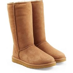 UGG Australia Classic Tall Suede Boots ($245) ❤ liked on Polyvore featuring shoes, boots, uggs, zapatos, brown, suede leather boots, rounded toe boots, brown knee high boots, ugg australia and brown suede boots