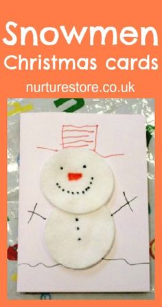 Snowman Christmas Cards - Nurture Store || 15 Christmas Cards Kids Can Make || Letters from Santa Holiday Blog