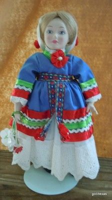 "Vintage Bride Doll Sweden with Stand 9"" Bisque Head Hands Feet"