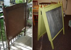 Discarded Crib Turned Chalkboard Easel