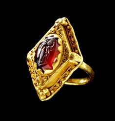 Anglo Saxon ring made using Roman intaglio. 8th century.