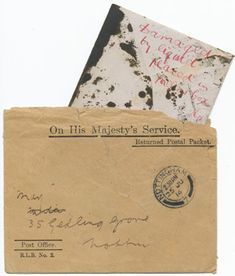 A letter damaged by suffragette action