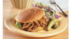 BBQ pulled pork........I've done this with boneless pork chops too with adding just bbq sauce.