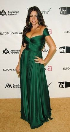 Sofia Vergara Green Formal Dress 2008 Oscar After Party