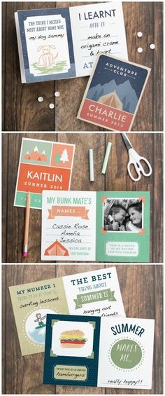 Cute free printable summer camp journal for kids that you can customize with their own names!