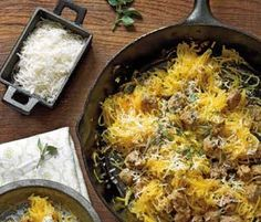 Roasted Spaghetti Squash With Sausage (would be great with veggie sage apple sausage)