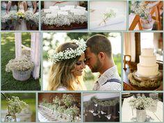Decoración en paniculata para una boda rural.    Rural decoration paniculata gypsophila.