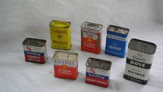 7 Vintage Assorted Spice Tins by ShareTheFinds on Etsy, $16.00