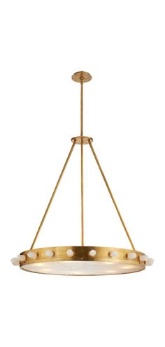 KELLY WEARSTLER   HALCYON LARGE PENDANT. Hand selected natural quartz stone set in a sculptural brass base.