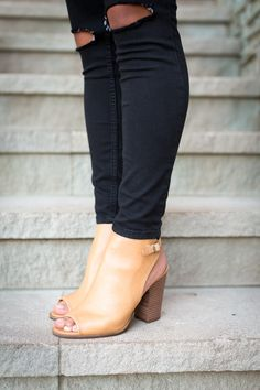 slingback booties, lucky brand boots, distressed skinny jeans, black denim // a southern drawl