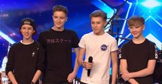 """Chapter comprised of Jacob Swann, Noah Key, Tom Abisgold, and Jake Slack, auditioned for """"Britain's Got Talent"""" and the teen boy band was incredible. Britain's Got Talent, Alesha Dixon, School Of Rock, Youtube I, British Boys, Stevie Wonder, Teen Boys, Boy Bands, The Incredibles"""