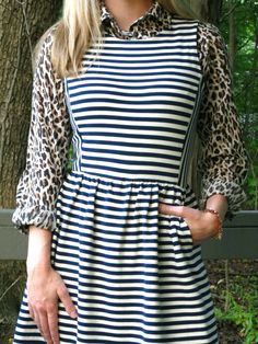 Leopard and Stripes + Dress over shirt trend