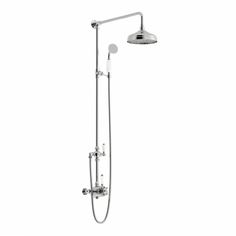 The Traditional rain can riser system is a great way to add a luxurious style to your new shower enclosure. The feature chrome rail and traditional shower valve works wonderfully with the classic shower head and the added feature of a traditional handset completes the look to perfection.