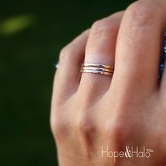 Gold Stacking Rings, Set of 3 12K Yellow Gold Filled Stack Rings with Hammered Texture