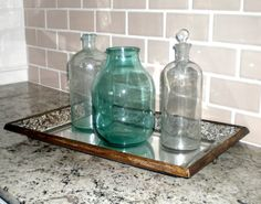 2012 Trey Strong Home---vintage bottles and jar on a new tray